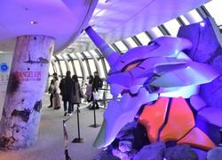 シン・エヴァンゲリオン劇場版 公開に合わせた東京スカイツリーの記念撮影ブース=東京都墨田区で2020年12月24日、岸達也撮影