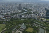 The city of Osaka is seen from a Mainichi Shimbun helicopter, with Osaka Castle in the foreground. (Mainichi)