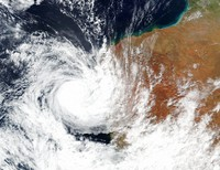 This April, 11, 2021, satellite image released by NASA shows Tropical Cyclone Seroja hitting the coast of Western Australia. (NASA Worldview, Earth Observing System Data and Information System (EOSDIS) via AP)