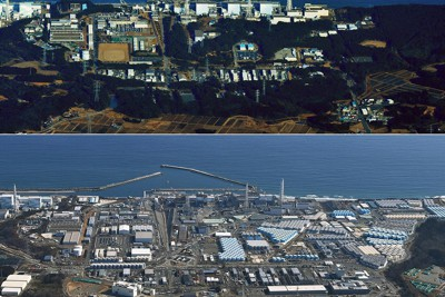 東日本大震災の大津波に襲われた翌日の東京電力福島第1原発(上・2011年3月12日、本社機から貝塚太一撮影)。原発事故から10年がたち、福島第1原発は多くの汚染水貯蔵タンクが設置され廃炉作業が続く(下・2021年2月13日、本社ヘリから手塚耕一郎撮影)