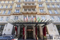Exterior view of the 'Grand Hotel Wien' in Vienna, Austria, Friday, April 9, 2021 where closed-door nuclear talks with Iran take place. (AP Photo/Florian Schroetter)