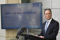 Australia's Health Minister Greg Hunt discusses the COVID-19 vaccination program at a press conference at Parliament House in Canberra, on April 9, 2021. (Mick Tsikas/AAP Image via AP)
