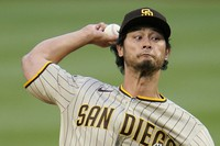 San Diego Padres starting pitcher Yu Darvish delivers during the first inning of a baseball game against the Pittsburgh Pirates in Pittsburgh, on April 12, 2021. (AP Photo/Gene J. Puskar)