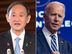 菅義偉首相(左)と、バイデン米大統領=AP