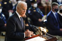 "President Joe Biden speaks during a ceremony to honor slain U.S. Capitol Police officer William ""Billy"" Evans as he lies in honor at the Capitol in Washington, on April 13, 2021. (AP Photo/J. Scott Applewhite, Pool)"
