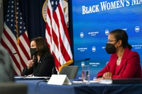 Vice President Kamala Harris, left, and White House Domestic Policy director Susan Rice, participate in a roundtable discussion highlighting the disparities that Black women face in maternal health at the Eisenhower Executive Office Building on the White House complex in Washington, on April 13, 2021. (AP Photo/Manuel Balce Ceneta)