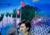 Hong Kong Chief Executive Carrie Lam speaks during a press conference in Hong Kong, on April 13, 2021. (AP Photo/Vincent Yu)