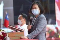 Taiwan's President Tsai Ing-wen delivers a speech during a launch ceremony for its first indigenous amphibious transport dock in Kaohsiung, southern Taiwan, on April 13, 2021. (AP Photo/Chiang Ying-ying)