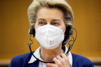 European Commission President Ursula von der Leyen listens to statements during a meeting of the Conference of Presidents at the European Parliament in Brussels on April 13, 2021. (AP Photo/Francisco Seco, Pool)