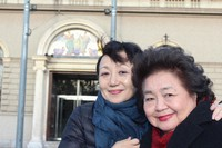 """Mitchie Takeuchi, left, and Setsuko Thurlow, who attended an international conference on nuclear weapons, are seen in Vienna in this image taken from the film """"The Vow From Hiroshima."""""""