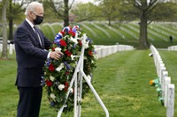 President Joe Biden visits Section 60 of Arlington National Cemetery in Arlington, Va., on April 14, 2021. (AP Photo/Andrew Harnik)