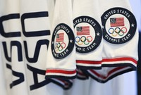 Team USA Tokyo Olympic closing ceremony uniforms are displayed during the unveiling at the Ralph Lauren SoHo Store on April 13, 2021, in New York. (Photo by Evan Agostini/Invision/AP)