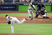 Boston Red Sox's Jackie Bradley Jr., hits a two-run home run off Houston Astros pitcher Josh James during the sixth inning in Game 4 of a baseball American League Championship Series in Houston, in this on Oct. 17, 2018, file photo. (AP Photo/Lynne Sladky)