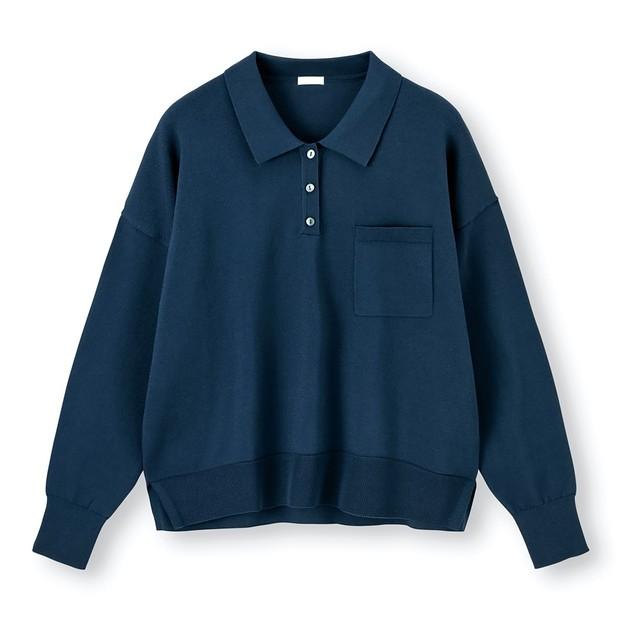 リサイクル素材が使われた、ジーユーの「ニットポロシャツ」 日本環境設計提供