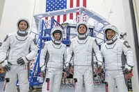 This undated photo made available by SpaceX in April 2021 shows the crew for its third astronaut launch to the International Space Station, during a training session at the SpaceX training facility in Hawthorne, California. From left are mission specialist Thomas Pesquet of the European Space Agency, pilot Megan McArthur and commander Shane Kimbrough of NASA, and mission specialist Akihiko Hoshide of the Japan Aerospace Exploration Agency. (SpaceX via AP)