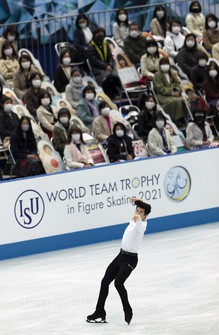 U.S.A.'s Nathan Chen performs during the men's short program of the ISU World Team Trophy figure skating competition in Osaka, western Japan, on April 15, 2021. (AP Photo/Hiro Komae)
