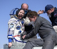 Expedition 64 NASA astronaut Kate Rubins is helped out of the Soyuz MS-17 spacecraft just minutes after she, and Roscosmos cosmonauts Sergey Kud-Sverchkov and Sergey Ryzhikov landed in a remote area near the town of Zhezkazgan, Kazakhstan on April 17, 2021. (Bill Ingalls/NASA via AP)