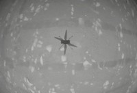 In this image from NASA, NASA's experimental Mars helicopter Ingenuity hovers above the surface of Mars April 19, 2021. The little 4-pound helicopter rose from the dusty red surface into the thin Martian air Monday, achieving the first powered, controlled flight on another planet. (NASA via AP)