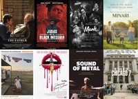"""This combination photo shows poster art for best picture Oscar nominees, top row from left, """"The Father,"""" """"Judas and the Black Messiah,"""" """"Mank,"""" """"Minari,"""" bottom row from left, """"Nomadland,"""" """"Promising Young Woman,"""" Sound of Metal,"""" and """"The Trial of the Chicago 7."""" (Sony Pictures Classics/Warner Bros. Pictures, Netflix, A24, Searchlight Pictures, Focus Features, Amazon Studios, Netflix via AP)"""