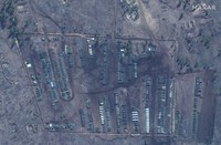 This image provided by Maxar Technologies shows close up of tanks and equipment at Pogorovo training area near Voronezh in Russia on April 10, 2021. (Satellite image 2021 Maxar Technologies via AP)