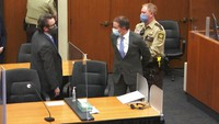 In this image from video, former Minneapolis police Officer Derek Chauvin, center, is taken into custody as his attorney, Eric Nelson, left, looks on, after the verdicts were read at Chauvin's trial for the 2020 death of George Floyd, on April 20, 2021, at the Hennepin County Courthouse in Minneapolis, Minn. (Court TV via AP, Pool)