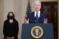 President Joe Biden, accompanied by Vice President Kamala Harris, speaks on April 20, 2021, at the White House in Washington, after former Minneapolis police Officer Derek Chauvin was convicted of murder and manslaughter in the death of George Floyd. (AP Photo/Evan Vucci)