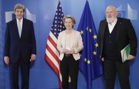 In this March 9, 2021 file photo, U.S. Special Presidential Envoy for Climate John Kerry, left, European Commission President Ursula von der Leyen, center, and European Commissioner for European Green Deal Frans Timmermans pose for photographers prior to a meeting at EU headquarters in Brussels. (Olivier Hoslet, Pool via AP)