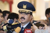In this Jan. 18, 2017 file photo, Indonesia's then Air Force Chief of Staff Air Marshall Hadi Tjahjanto talks to journalists after his swearing-in ceremony at the presidential palace in Jakarta, Indonesia. (AP Photo/Achmad Ibrahim)