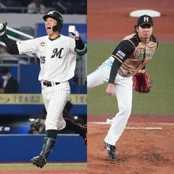 ロッテ・岡大海(左)と日本ハム・伊藤大海(右)