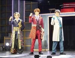舞台「This is 大奥」の会見に出席した(左から)小川優、「ふぉ~ゆ~」の越岡裕貴、演出の玉野和紀氏