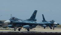 F-2 fighter airplanes are seen landing at Tsuiki Air Base after training, in Chikujo, Fukuoka Prefecture. (Mainichi/Hiroya Miyagi)