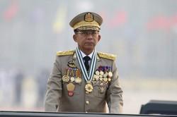 ミャンマー国軍のミンアウンフライン最高司令官=ミャンマーの首都ネピドーで2021年3月27日、AP