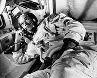In this June 19, 1969 file photo, Apollo 11 command module pilot astronaut Michael Collins takes a break during training for the moon mission, in Cape Kennedy, Florida. (AP Photo)