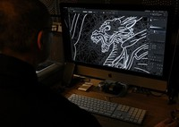 A design drawn on the computer by applying the traditional technique of family crests is seen in this photo taken in Tokyo's Taito Ward on Sept. 17, 2020. (Mainichi/Junichi Sasaki)