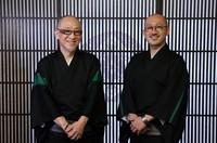 'Monsho uwae-shi' craftsman Shoryu Hatoba, left, and his son Yoji are seen at Kyogen, a workshop in Tokyo's Taito Ward, on Sept. 17, 2020. (Mainichi/Junichi Sasaki)