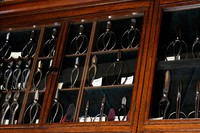 Floral scissors, gardening scissors and other items are aligned in a cabinet at the edged tool shop Ubukeya in the capital's Chuo Ward, as seen in this photo taken on March 31, 2021. (Mainichi/Emi Naito)