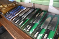 Knives are seen on display at the edged tool shop Ubukeya in Tokyo's Chuo Ward on March 31, 2021. (Mainichi/Emi Naito)