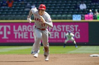 Los Angeles Angels' Shohei Ohtani (17) takes off to safely steal third base during the first inning of a baseball game against the Seattle Mariners, on May 2, 2021, in Seattle. (AP Photo/Ted S. Warren)