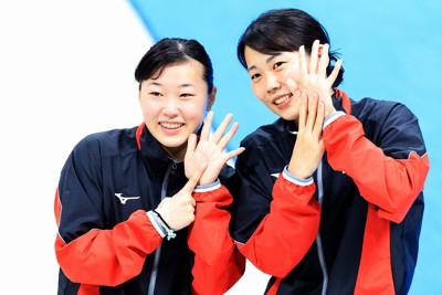 女子3メートル板飛び込み決勝、自分の順位を手で示す6位の三上紗也可(左)と8位の榎本遼夏=東京アクアティクスセンターで2021年5月4日、梅村直承撮影