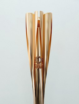 This photo taken on March 24, 2021, shows the Tokyo Olympic torch in Chuo Ward, Tokyo. (Pool photo)