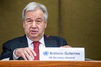 U.N. Secretary-General Antonio Guterres, speaks to the media, attends a press conference about the end of a 5+1 Meeting on Cyprus, at the European headquarters of the United Nations in Geneva, Switzerland, on April 29, 2021. (Martial Trezzini/Keystone via AP)