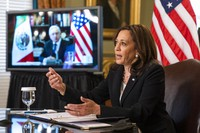 Vice President Kamala Harris speaks during a virtual meeting with Mexican President Andres Manuel Lopez Obrador at the Eisenhower Executive Office Building on the White House complex in Washington on May 7, 2021. (AP Photo/Manuel Balce Ceneta)