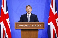 Britain's Transport Secretary Grant Shapps speaks about COVID-19 during a media briefing in Downing Street, London, on May 7, 2021. (Tolga Akmen/Pool via AP)