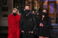 This image released by NBC shows musical guest Miley Cyrus, from left, host Elon Musk, and Cecily Strong during promos in Studio 8H on Thursday, May 6, 2021. (Rosalind O'Connor/NBC via AP)