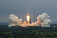 In this April 29, 2021, file photo released by China's Xinhua News Agency, a Long March 5B rocket carrying a module for a Chinese space station lifts off from the Wenchang Spacecraft Launch Site in Wenchang in southern China's Hainan Province. (Ju Zhenhua/Xinhua via AP, File)