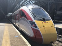 High-speed train Azuma, manufactured by Japan's Hitachi Ltd., is shown to the media at London's King's Cross station on May 14, 201. (Mainichi/Kohei Misawa)