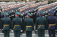 Russian sailors march toward Red Square during the Victory Day military parade in Moscow, Russia, on May 9, 2021, marking the 76th anniversary of the end of World War II in Europe. (AP Photo)