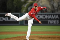 Los Angeles Angels starting pitcher Shohei Ohtani throws to the plate during the fifth inning of a baseball game against the Tampa Bay Rays on May 5, 2021, in Anaheim, California. (AP Photo/Mark J. Terrill)