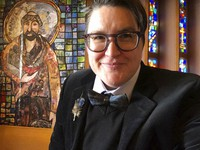 This April 2021 selfie photo shows the Rev. Megan Rohrer, at the Grace Lutheran Church in San Francisco. (Meghan Rohrer via AP)