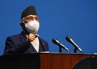 Nepal Prime Minister Khadga Prasad Oli speaks at the parliament in Kathmandu, Nepal, on May 10, 2021. (AP Photo/Niranjan Shrestha)